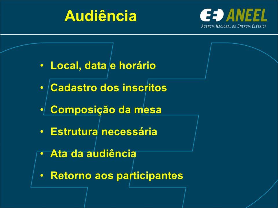 Audiência Local, data e horário Cadastro dos inscritos Composição da mesa Estrutura necessária Ata da audiência Retorno aos participantes