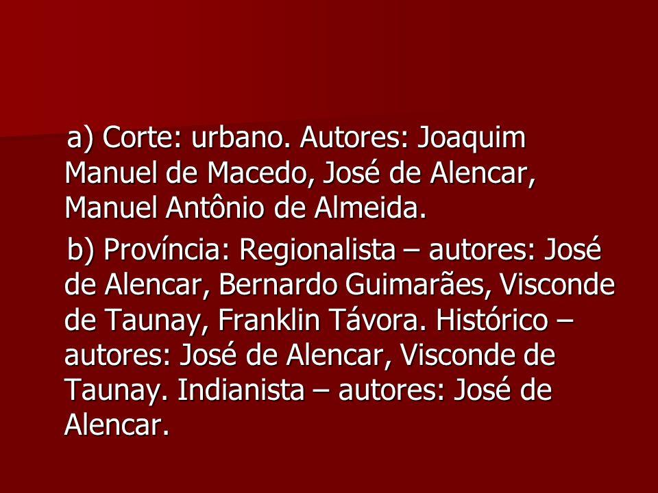 a) Corte: urbano. Autores: Joaquim Manuel de Macedo, José de Alencar, Manuel Antônio de Almeida. a) Corte: urbano. Autores: Joaquim Manuel de Macedo,