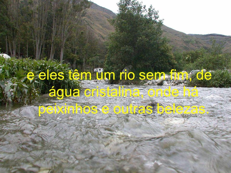 e eles têm um rio sem fim, de água cristalina, onde há peixinhos e outras belezas.