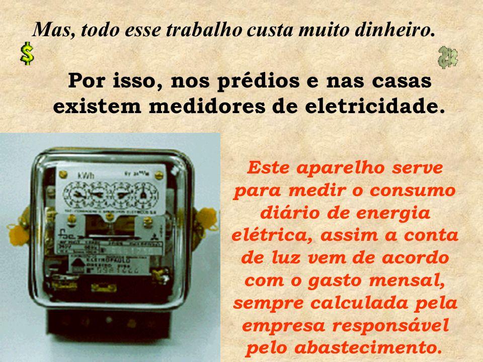 Depois de gerada, a energia elétrica é conduzida por meio de fios a todos os lugares até chegar aos postes de iluminação. Nos postes existem os transf