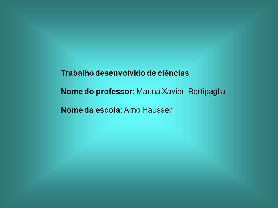 Trabalho desenvolvido de ciências Nome do professor: Marina Xavier Bertipaglia Nome da escola: Arno Hausser