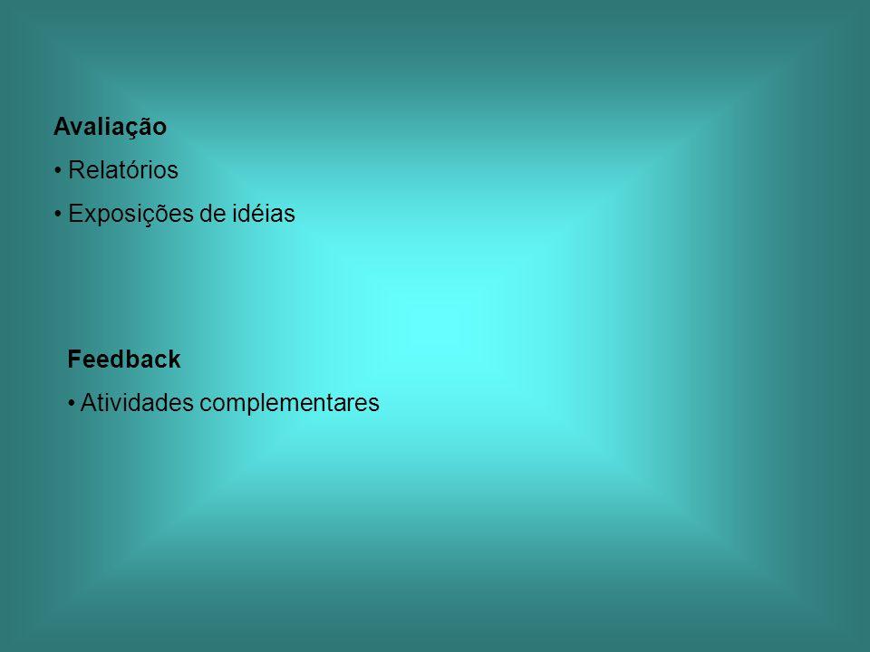 Avaliação Relatórios Exposições de idéias Feedback Atividades complementares