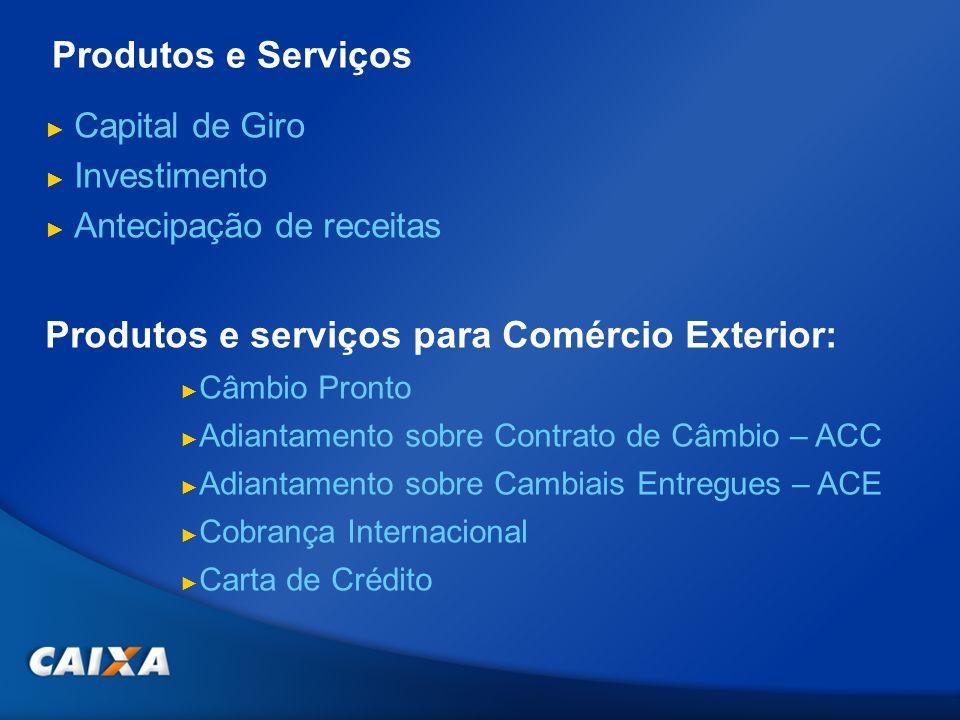 Capital de Giro Investimento Antecipação de receitas Produtos e serviços para Comércio Exterior: Câmbio Pronto Adiantamento sobre Contrato de Câmbio –