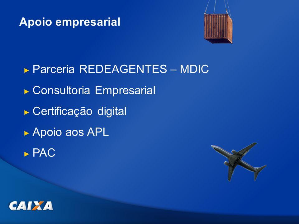 Apoio empresarial Parceria REDEAGENTES – MDIC Consultoria Empresarial Certificação digital Apoio aos APL PAC