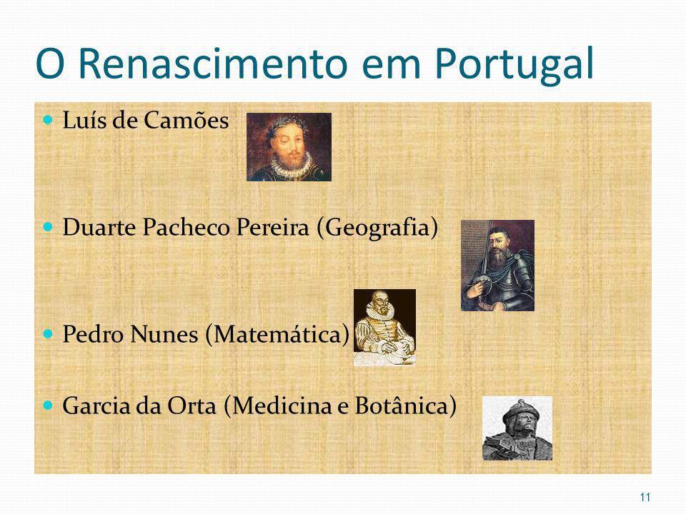 O Renascimento em Portugal Luís de Camões Duarte Pacheco Pereira (Geografia) Pedro Nunes (Matemática) Garcia da Orta (Medicina e Botânica) 11