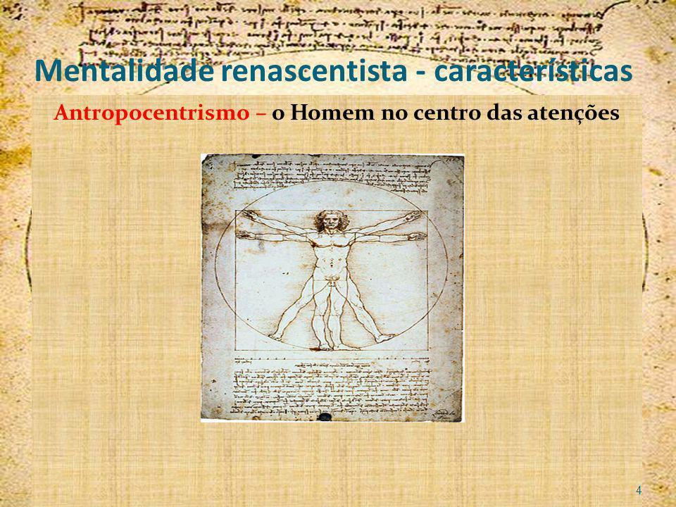 Mentalidade renascentista - características Antropocentrismo – o Homem no centro das atenções 4