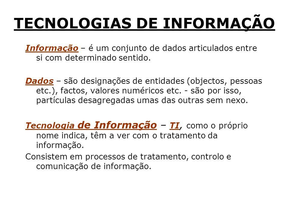 TECNOLOGIAS DE INFORMAÇÃO Informação – é um conjunto de dados articulados entre si com determinado sentido.