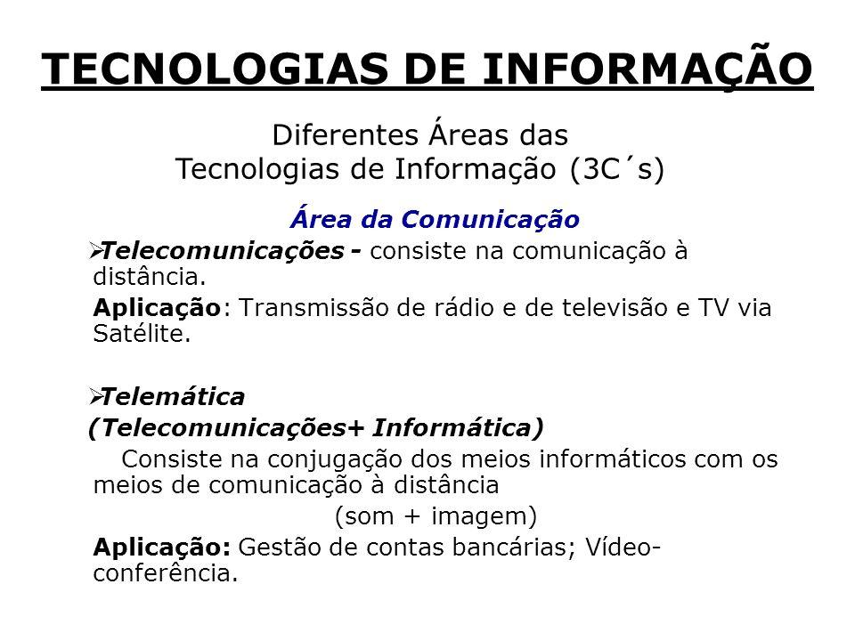 Diferentes Áreas das Tecnologias de Informação (3C´s) Área da Comunicação Telecomunicações - consiste na comunicação à distância.