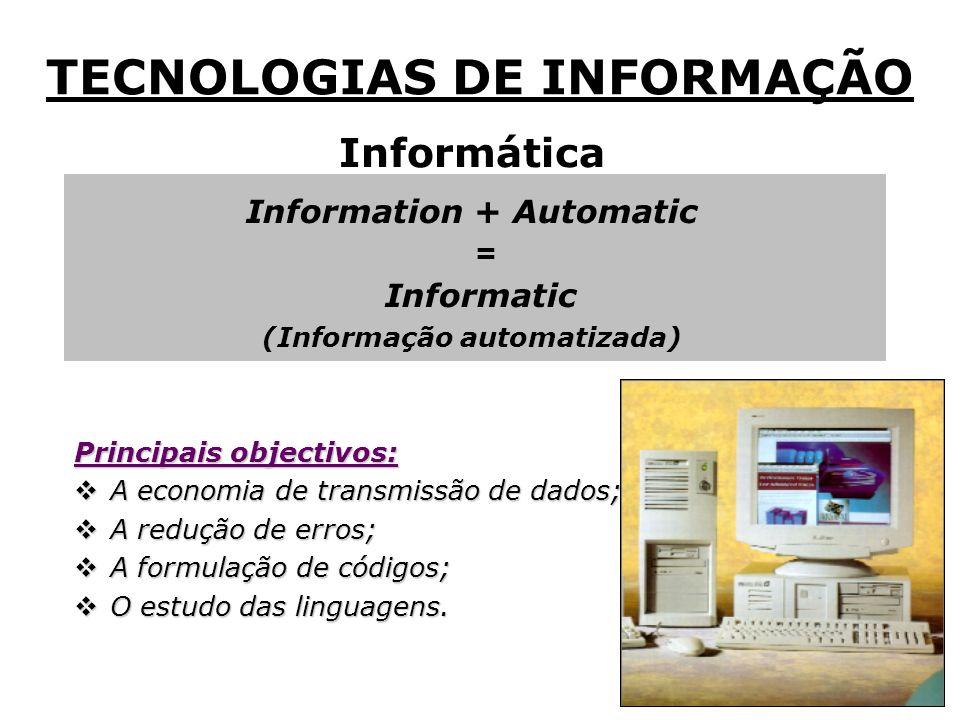 Informática Information + Automatic = Informatic Informatic (Informação automatizada) Principais objectivos: A economia de transmissão de dados; A economia de transmissão de dados; A redução de erros; A redução de erros; A formulação de códigos; A formulação de códigos; O estudo das linguagens.