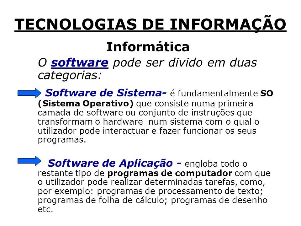 O software pode ser divido em duas categorias: Software de Sistema- é fundamentalmente SO (Sistema Operativo) que consiste numa primeira camada de software ou conjunto de instruções que transformam o hardware num sistema com o qual o utilizador pode interactuar e fazer funcionar os seus programas.
