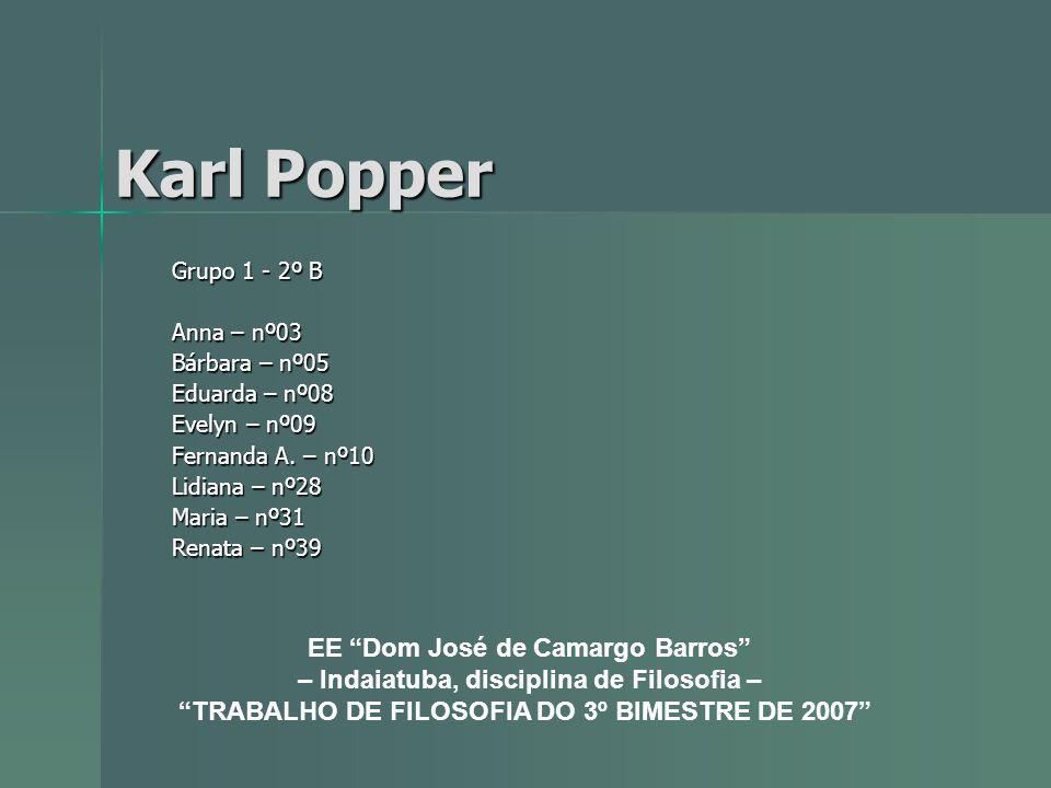 Karl Popper Grupo 1 - 2º B Anna – nº03 Bárbara – nº05 Eduarda – nº08 Evelyn – nº09 Fernanda A. – nº10 Lidiana – nº28 Maria – nº31 Renata – nº39 EE Dom