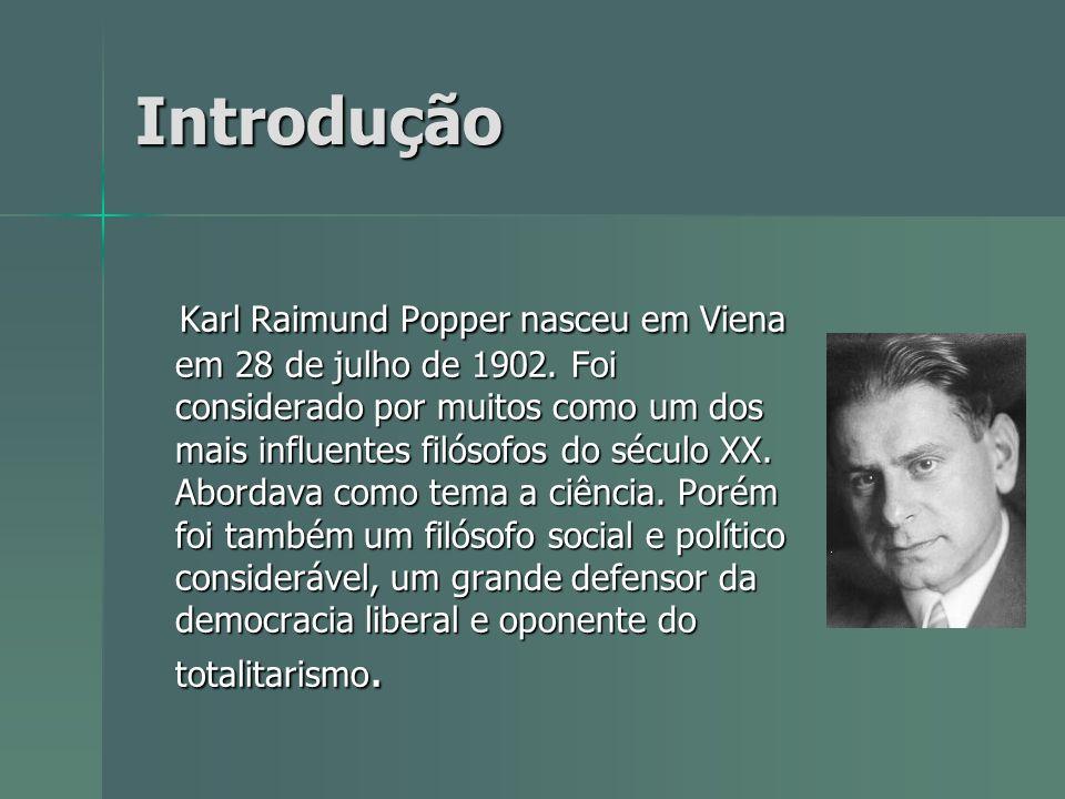 Introdução Karl Raimund Popper nasceu em Viena em 28 de julho de 1902. Foi considerado por muitos como um dos mais influentes filósofos do século XX.