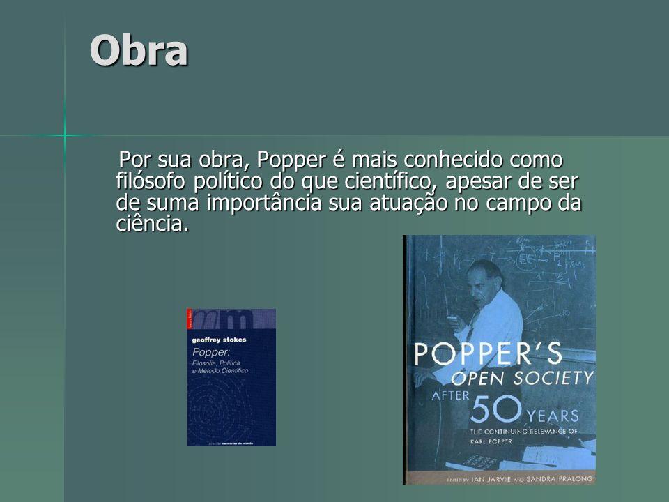Obra Obra Por sua obra, Popper é mais conhecido como filósofo político do que científico, apesar de ser de suma importância sua atuação no campo da ci