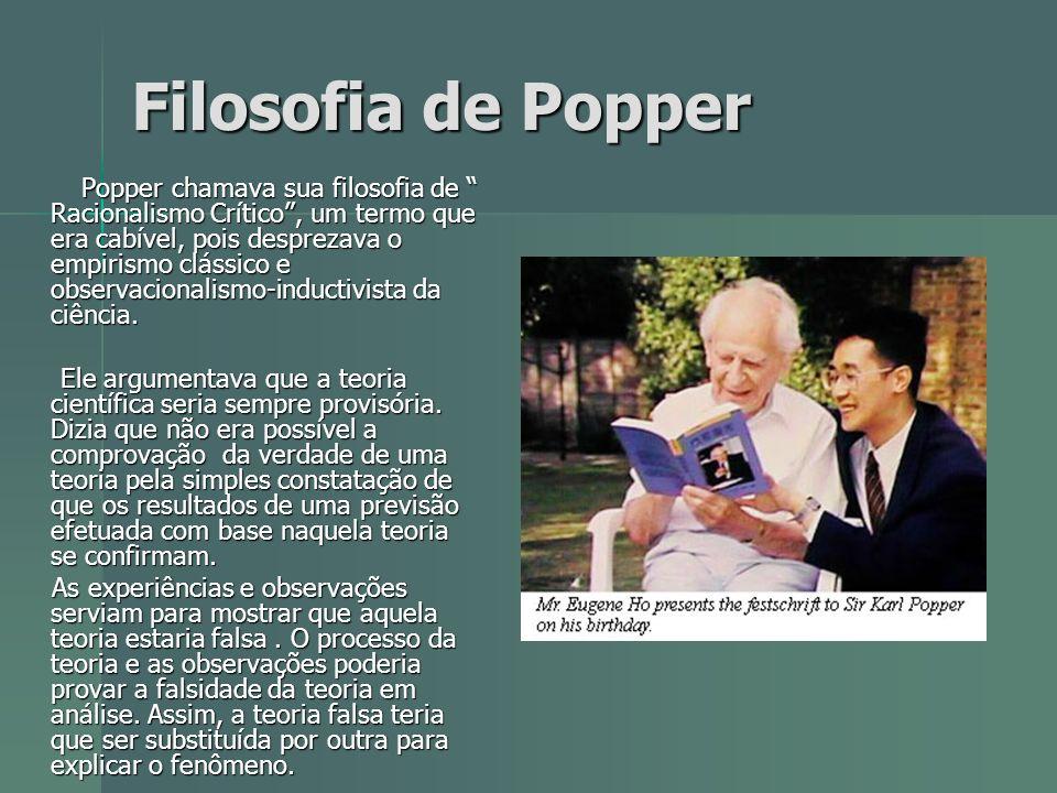 Filosofia de Popper Popper chamava sua filosofia de Racionalismo Crítico, um termo que era cabível, pois desprezava o empirismo clássico e observacion