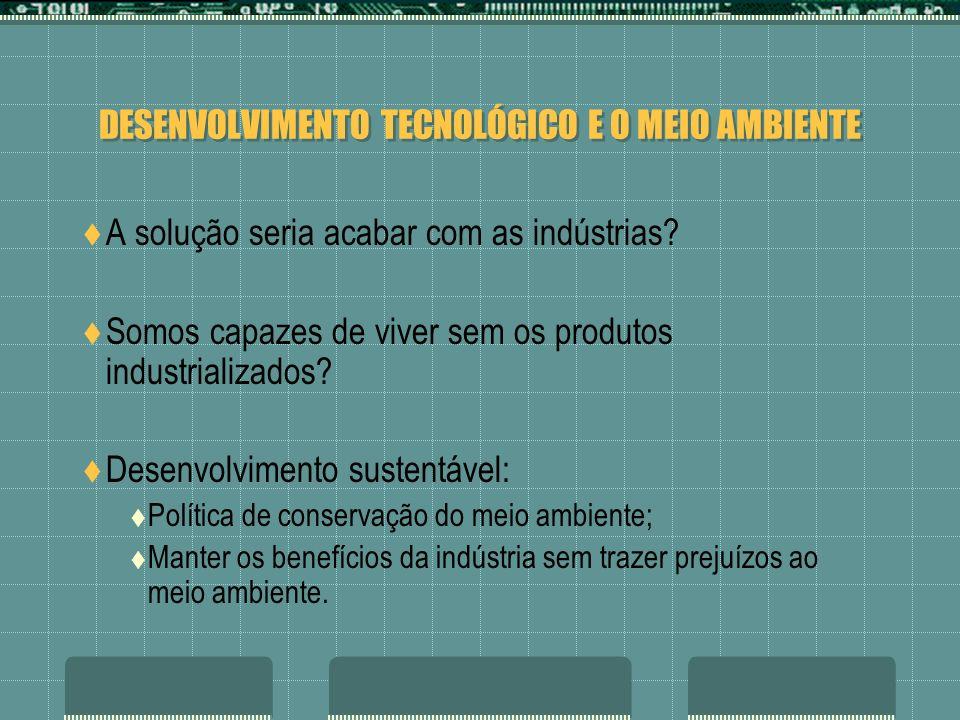 DESENVOLVIMENTO TECNOLÓGICO E O MEIO AMBIENTE A solução seria acabar com as indústrias? Somos capazes de viver sem os produtos industrializados? Desen