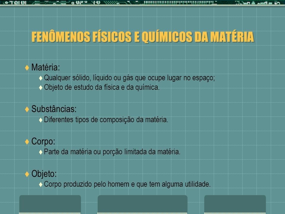 FENÔMENOS FÍSICOS E QUÍMICOS DA MATÉRIA Matéria: Qualquer sólido, líquido ou gás que ocupe lugar no espaço; Objeto de estudo da física e da química. S