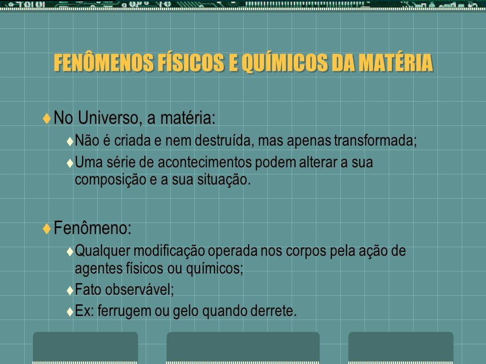 FENÔMENOS FÍSICOS E QUÍMICOS DA MATÉRIA No Universo, a matéria: Não é criada e nem destruída, mas apenas transformada; Uma série de acontecimentos pod