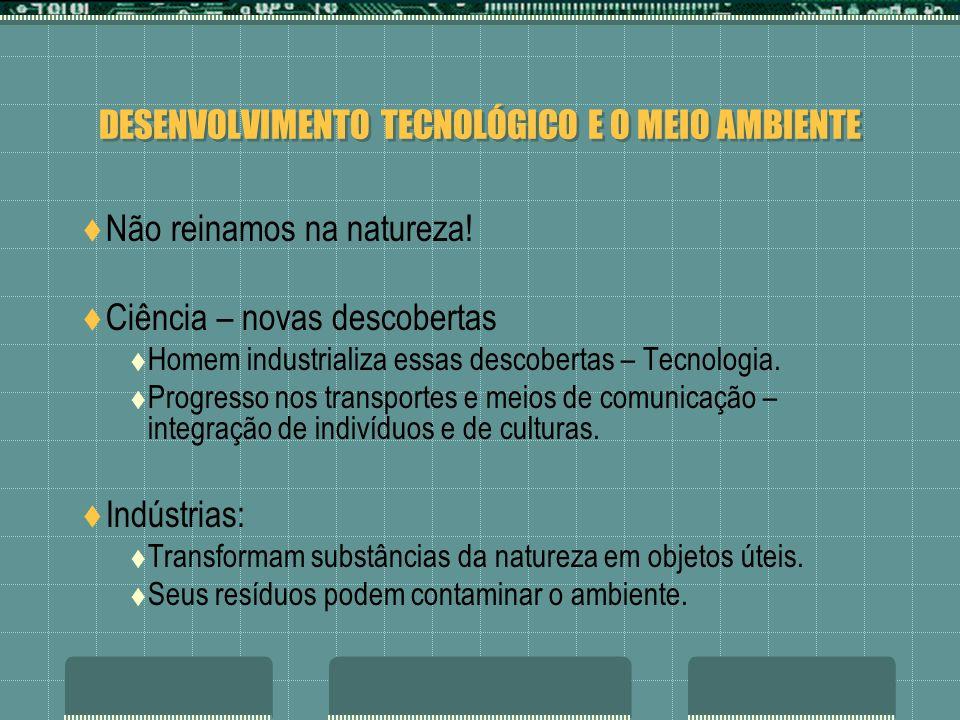DESENVOLVIMENTO TECNOLÓGICO E O MEIO AMBIENTE A solução seria acabar com as indústrias.