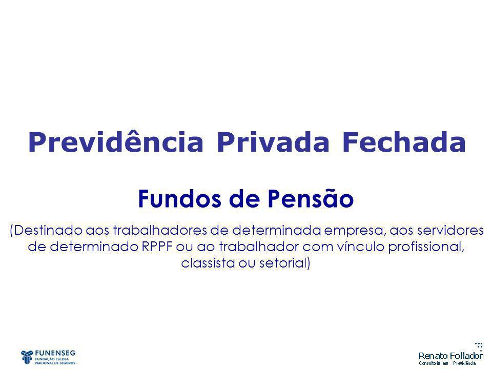 Fundos de Pensão (Destinado aos trabalhadores de determinada empresa, aos servidores de determinado RPPF ou ao trabalhador com vínculo profissional, classista ou setorial) Previdência Privada Fechada