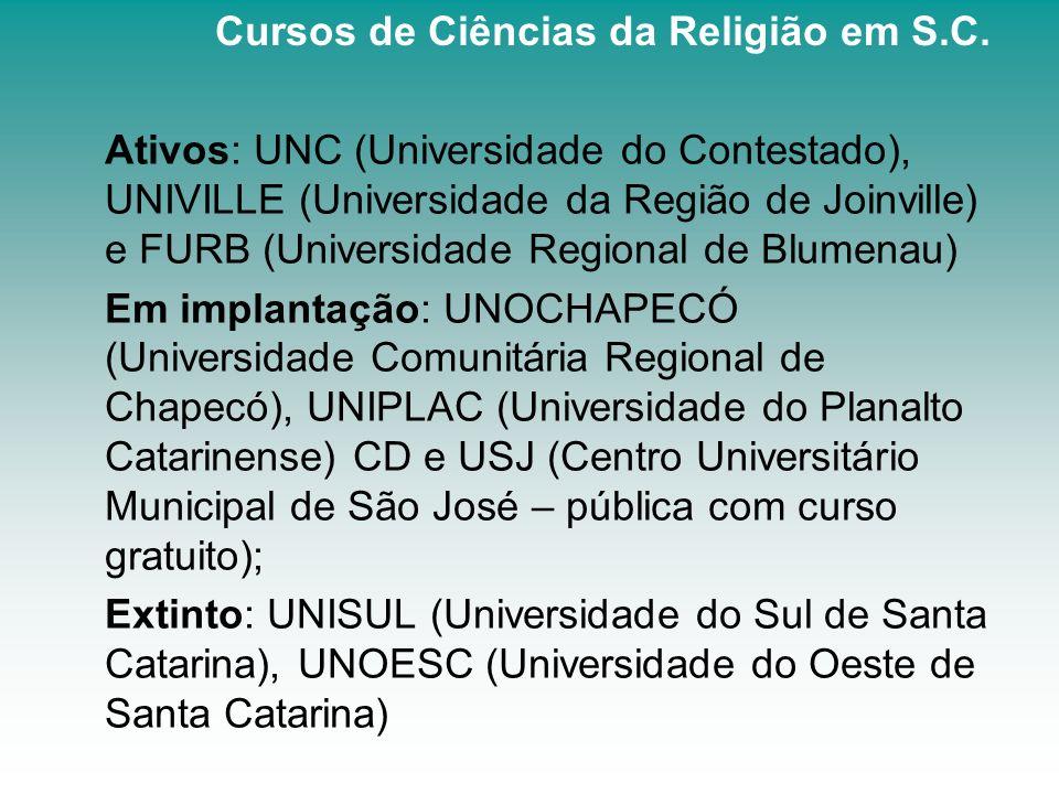 Ativos: UNC (Universidade do Contestado), UNIVILLE (Universidade da Região de Joinville) e FURB (Universidade Regional de Blumenau) Em implantação: UN
