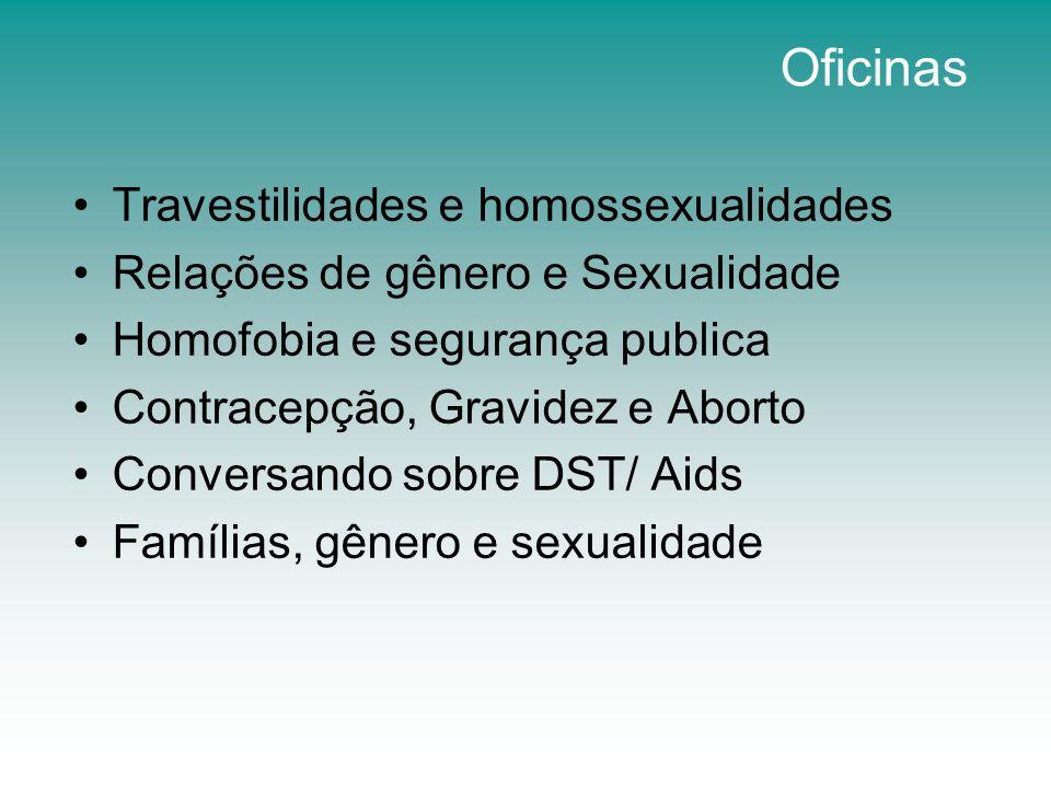 Oficinas Travestilidades e homossexualidades Relações de gênero e Sexualidade Homofobia e segurança publica Contracepção, Gravidez e Aborto Conversand