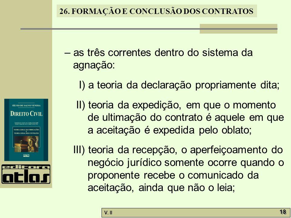26. FORMAÇÃO E CONCLUSÃO DOS CONTRATOS V. II 18 – as três correntes dentro do sistema da agnação: I) a teoria da declaração propriamente dita; II) teo