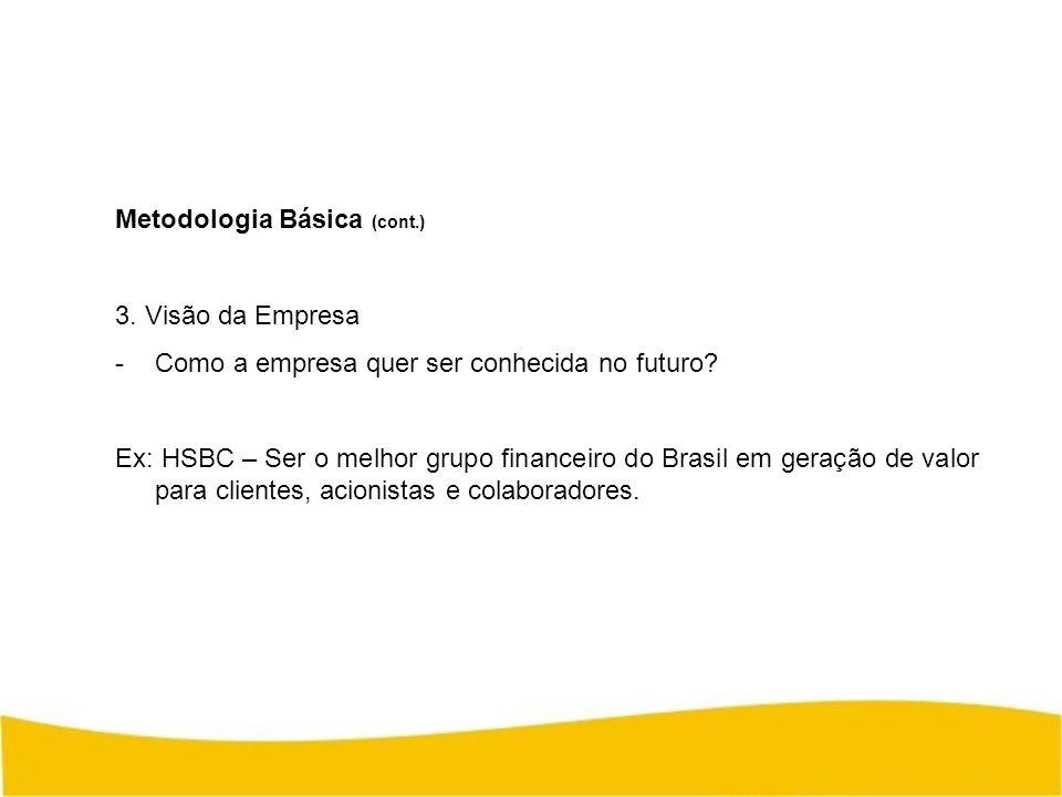 Metodologia Básica (cont.) 3. Visão da Empresa -Como a empresa quer ser conhecida no futuro? Ex: HSBC – Ser o melhor grupo financeiro do Brasil em ger
