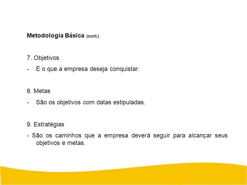 Metodologia Básica (cont.) 7. Objetivos -É o que a empresa deseja conquistar. 8. Metas -São os objetivos com datas estipuladas. 9. Estratégias - São o