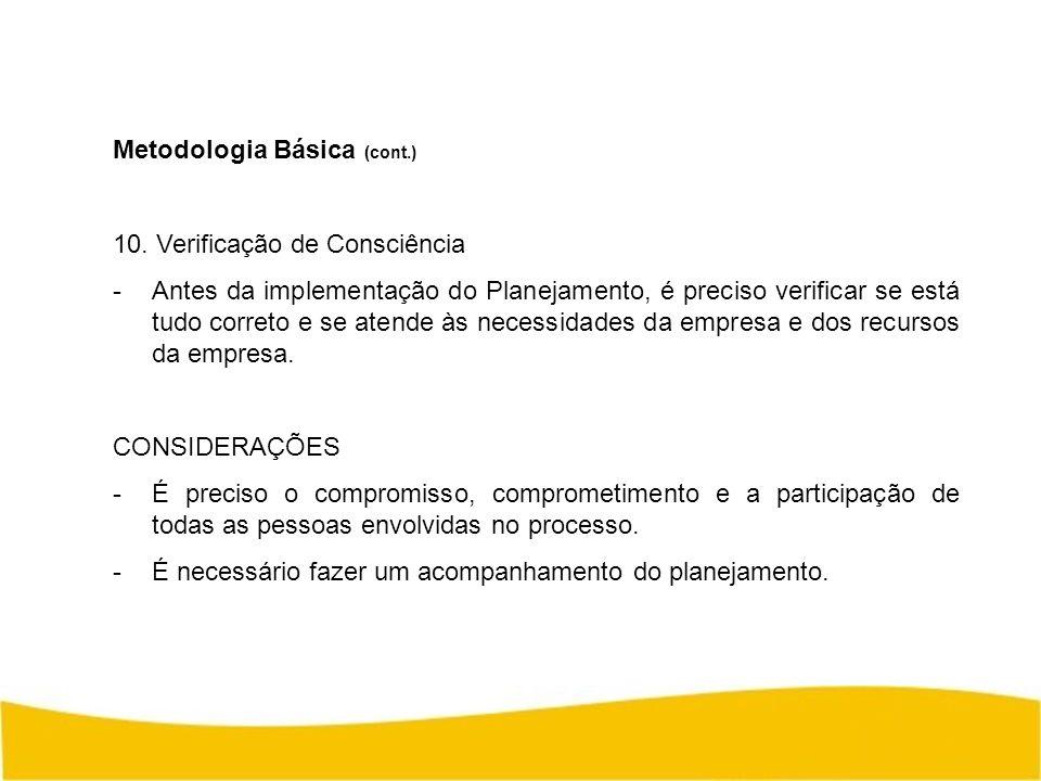 Metodologia Básica (cont.) 10. Verificação de Consciência -Antes da implementação do Planejamento, é preciso verificar se está tudo correto e se atend