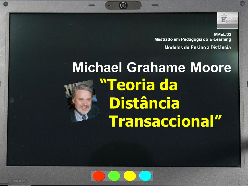 MPEL02 Mestrado em Pedagogia do E-Learning Modelos de Ensino a Distância Michael Grahame Moore Teoria da Distância Transaccional