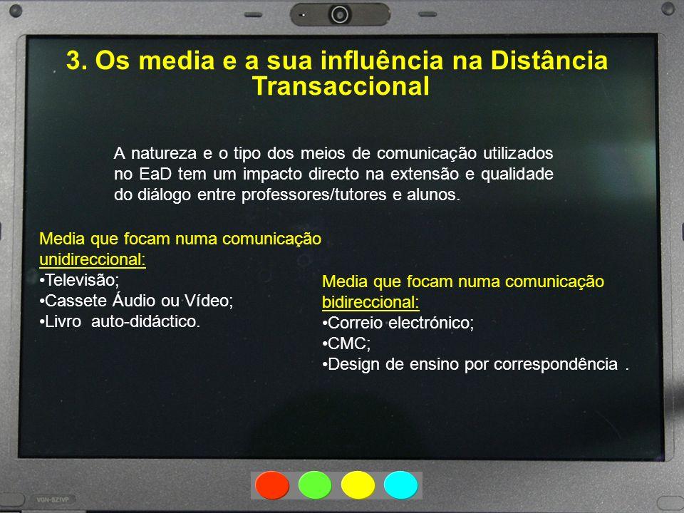 3. Os media e a sua influência na Distância Transaccional A natureza e o tipo dos meios de comunicação utilizados no EaD tem um impacto directo na ext