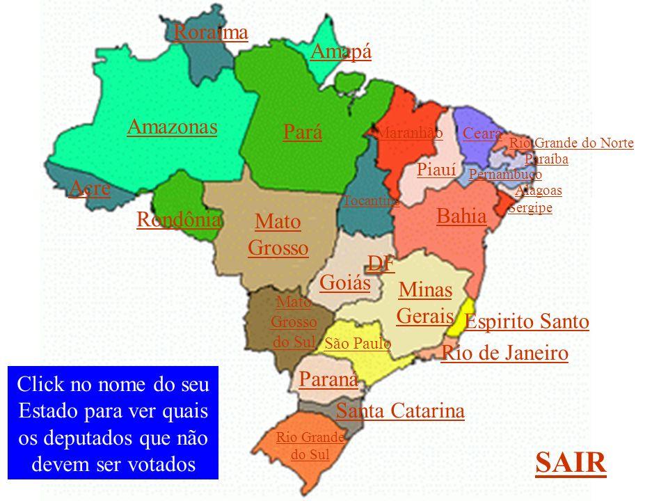 Amazonas São Paulo Minas Gerais Paraná Rio Grande do Sul Santa Catarina Rio de Janeiro Espirito Santo Bahia Pará Mato Grosso Mato Grosso do Sul Goiás