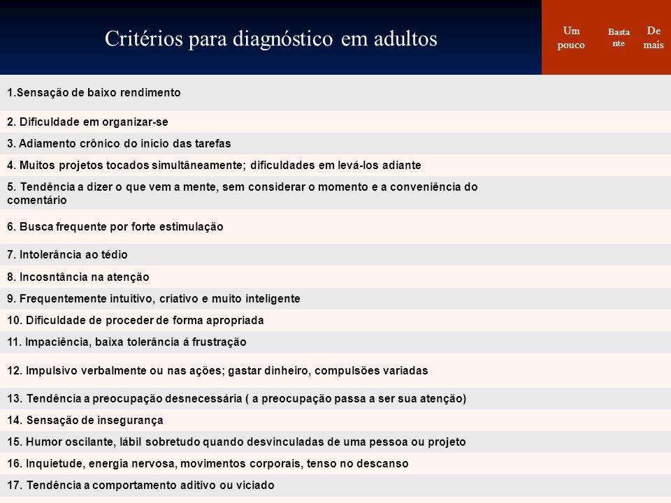 Critérios para diagnóstico em adultos Um pouco Basta nte De mais 1.Sensação de baixo rendimento 2. Dificuldade em organizar-se 3. Adiamento crônico do