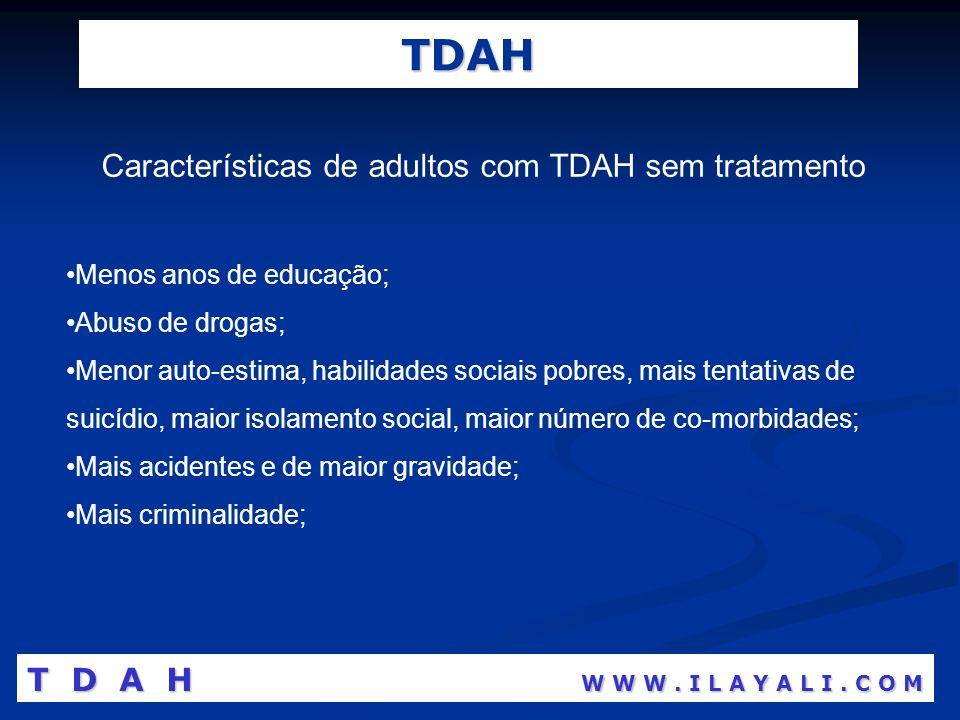 TDAH Características de adultos com TDAH sem tratamento Menos anos de educação; Abuso de drogas; Menor auto-estima, habilidades sociais pobres, mais t