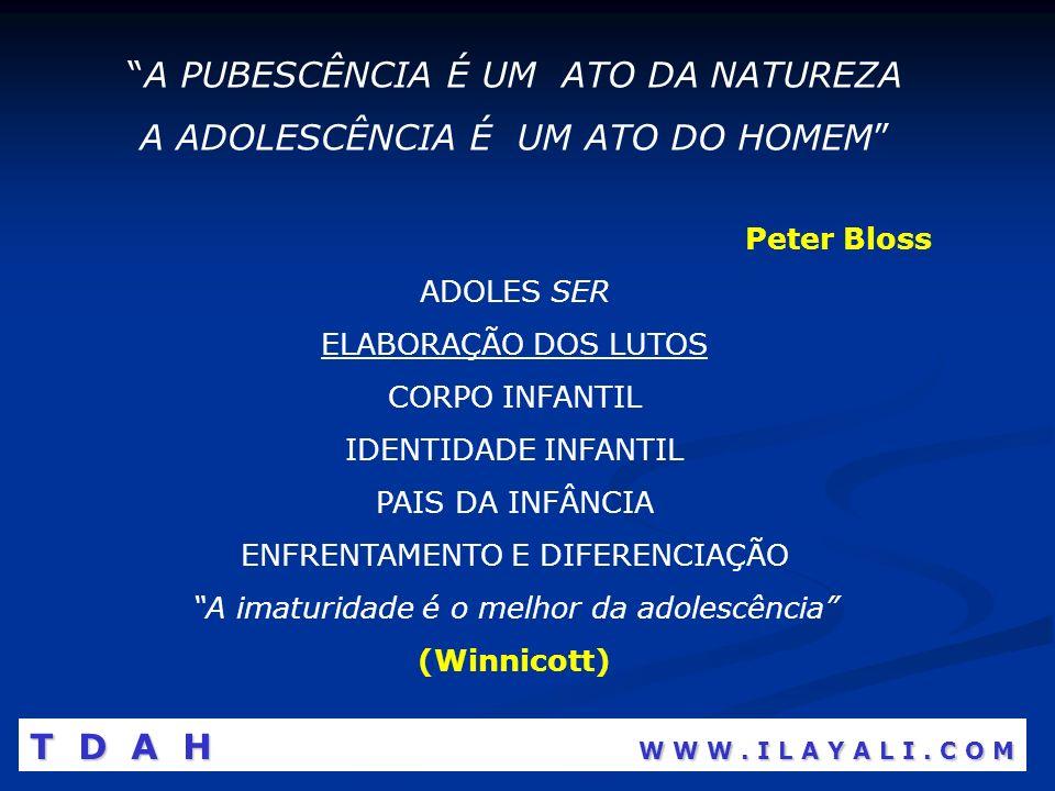 A PUBESCÊNCIA É UM ATO DA NATUREZA A ADOLESCÊNCIA É UM ATO DO HOMEM Peter Bloss ADOLES SER ELABORAÇÃO DOS LUTOS CORPO INFANTIL IDENTIDADE INFANTIL PAI