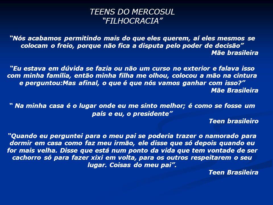 TEENS DO MERCOSUL FILHOCRACIA Nós acabamos permitindo mais do que eles querem, aí eles mesmos se colocam o freio, porque não fica a disputa pelo poder