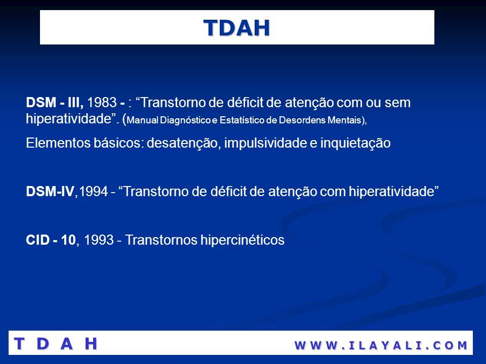 TDAH DSM - III, 1983 - : Transtorno de déficit de atenção com ou sem hiperatividade. ( Manual Diagnóstico e Estatístico de Desordens Mentais), Element
