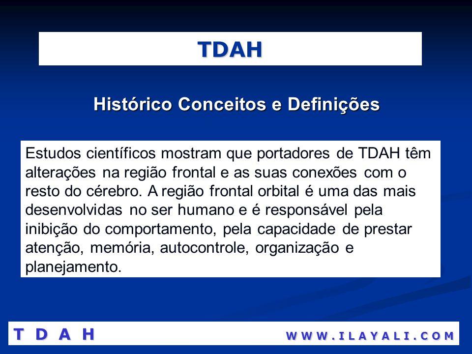TDAH Histórico Conceitos e Definições Estudos científicos mostram que portadores de TDAH têm alterações na região frontal e as suas conexões com o res