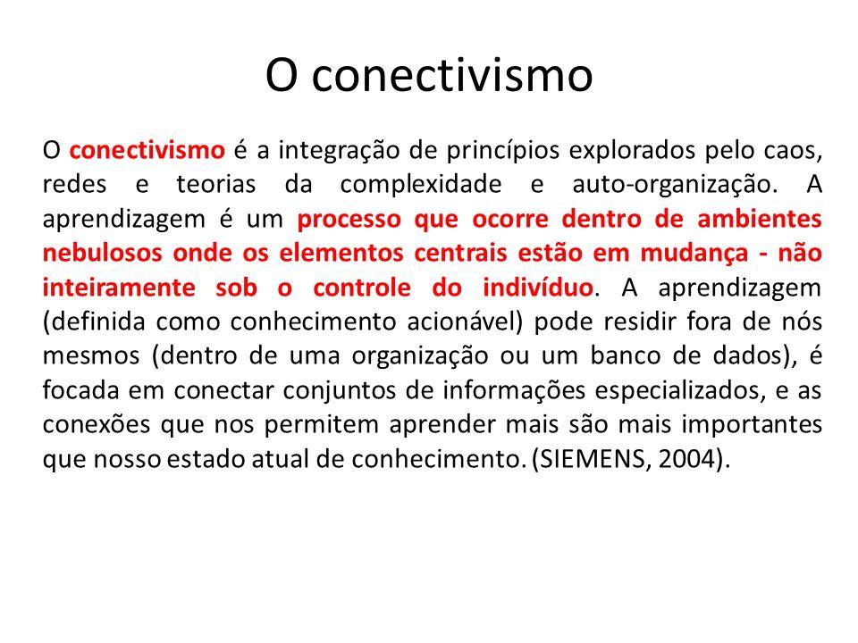O conectivismo O conectivismo é a integração de princípios explorados pelo caos, redes e teorias da complexidade e auto-organização. A aprendizagem é