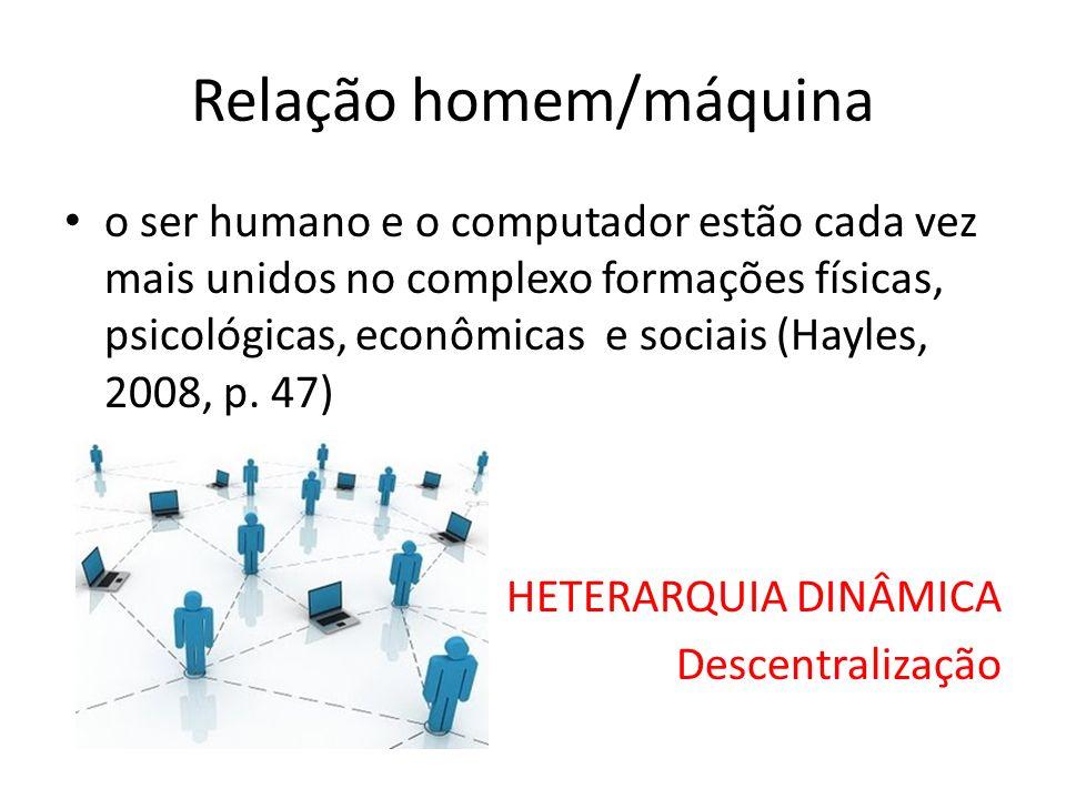 Relação homem/máquina o ser humano e o computador estão cada vez mais unidos no complexo formações físicas, psicológicas, econômicas e sociais (Hayles