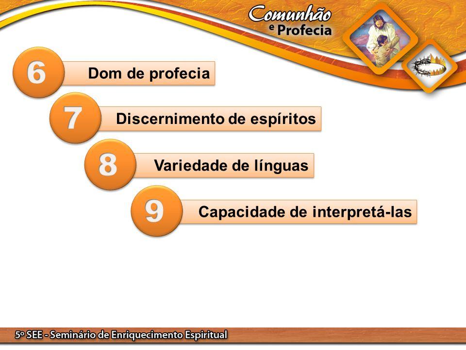 Dom de profecia Discernimento de espíritos Variedade de línguas Capacidade de interpretá-las