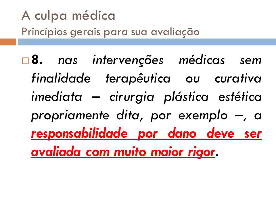 A culpa médica Princípios gerais para sua avaliação 8. nas intervenções médicas sem finalidade terapêutica ou curativa imediata – cirurgia plástica es