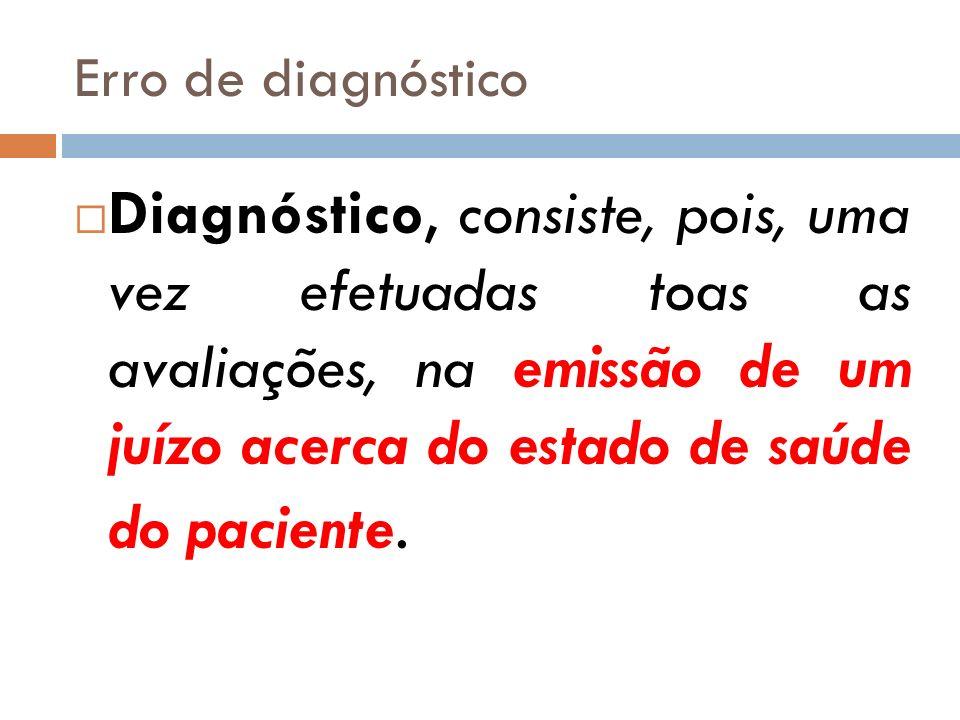Erro de diagnóstico Diagnóstico, consiste, pois, uma vez efetuadas toas as avaliações, na emissão de um juízo acerca do estado de saúde do paciente.