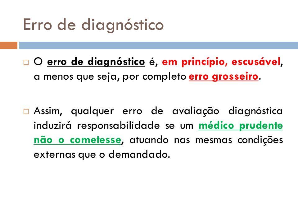Erro de diagnóstico O erro de diagnóstico é, em princípio, escusável, a menos que seja, por completo erro grosseiro. Assim, qualquer erro de avaliação