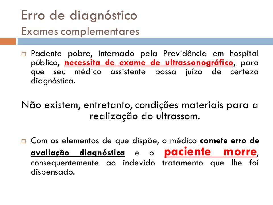 Erro de diagnóstico Exames complementares Paciente pobre, internado pela Previdência em hospital público, necessita de exame de ultrassonográfico, par