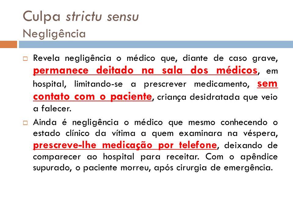 Culpa strictu sensu Negligência Revela negligência o médico que, diante de caso grave, permanece deitado na sala dos médicos, em hospital, limitando-s