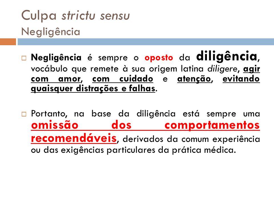 Culpa strictu sensu Negligência Negligência é sempre o oposto da diligência, vocábulo que remete à sua origem latina diligere, agir com amor, com cuid