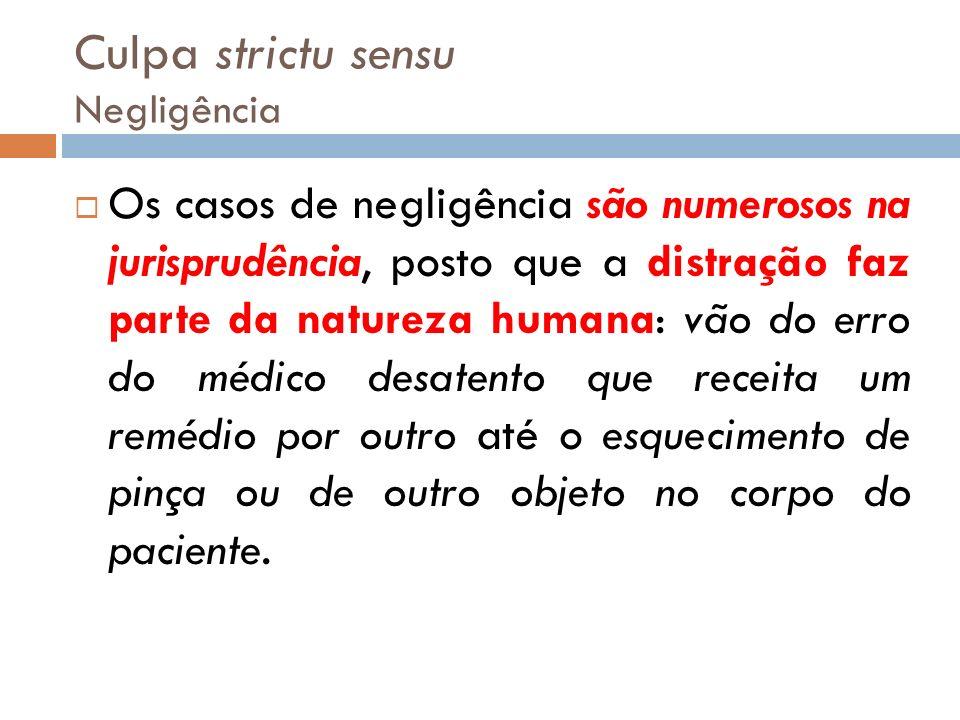 Culpa strictu sensu Negligência Os casos de negligência são numerosos na jurisprudência, posto que a distração faz parte da natureza humana: vão do er