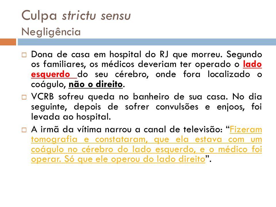 Culpa strictu sensu Negligência Dona de casa em hospital do RJ que morreu. Segundo os familiares, os médicos deveriam ter operado o lado esquerdo do s