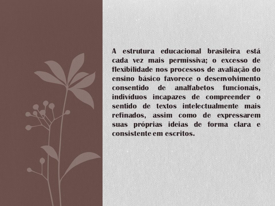 A estrutura educacional brasileira está cada vez mais permissiva; o excesso de flexibilidade nos processos de avaliação do ensino básico favorece o de